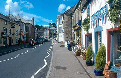A view up the main street of Camelford - The A39 Trunk Road also known as the Atlantic Highway