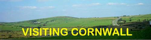Visiting Cornwall Logo - background is part of Bodmin Moor as seen from Jamaica Inn at Altarnun. The road in the picture is the main A30 through Cornwall.
