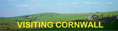 Visiting Cornwall Logo - background is part of Bodmin Moor as seen from Jamaica Inn at Altarnun. The road to the right in the picture is the main A30 through Cornwall from Launceston to Penzance.